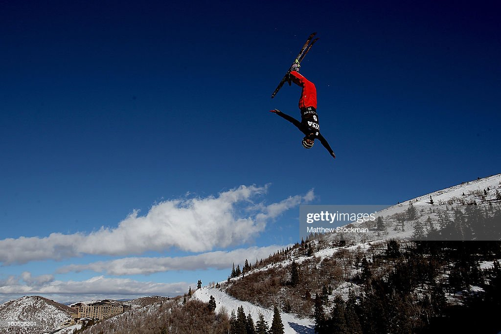 Hang Zhou #5 of China jumps while training for the Mens Aerials during the Visa Freestyle International at Deer Valley on February 1, 2013 in Park City, Utah.