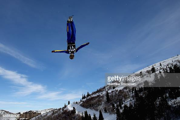 Hang Zhou of China trains for the men's aerials competition during the FIS Freestyle World Cup at Deer Valley Resort on February 1 2017 in Park City...