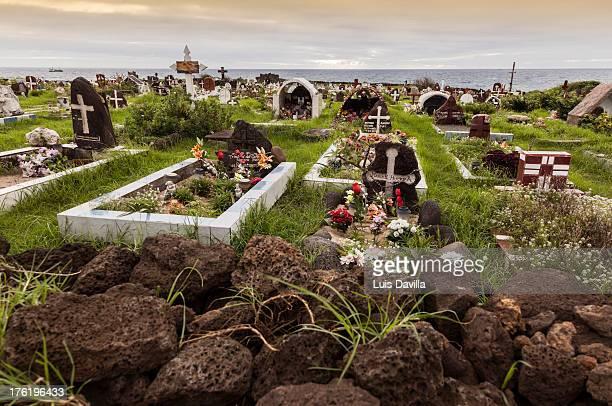 hanga roa cemetery  in easter island