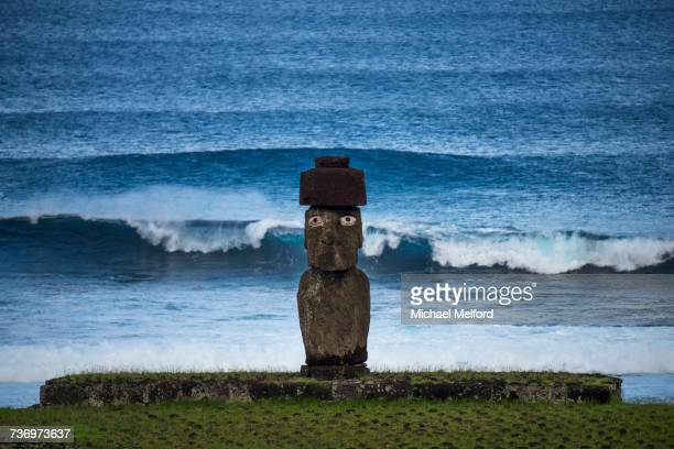 A Moai faces inland at the Tahai Ceremonial Complex.