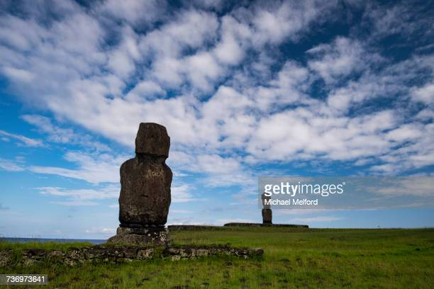 Moai face inland at the Tahai Ceremonial Complex.