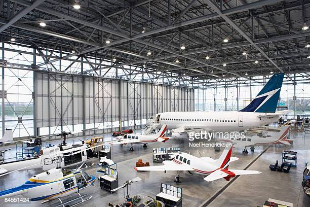 hangar full of aircraft