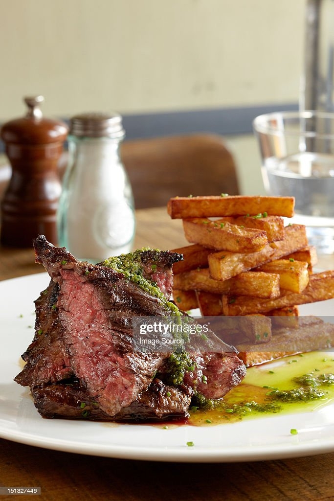 Hanger steak and fries : Stock Photo