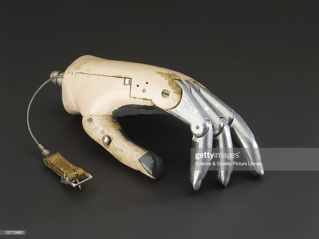 Hanger-Simpson wooden hand with all fingers articulated at the proximal inter-phalangeal and metacarpo-phalangeal joints. Made by Hanger, c.1948. Hanger-Simpson wooden hand with all fingers articulated at the proximal inter-phalangeal and metacarpo-phalangeal joints. Passively moveable thumb, grooved at the tip, for holding a pen or pencil. The tips of all the digits are faced with black rubber. Made by Hanger, c.1948.