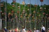 Hanging bird cages are displayed on poles during a birdsinging contest in the Rueso district in Thailand's southern province of Narathiwat on March...
