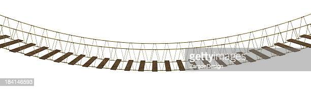 A hanging bridge made of rope and wood on a white background