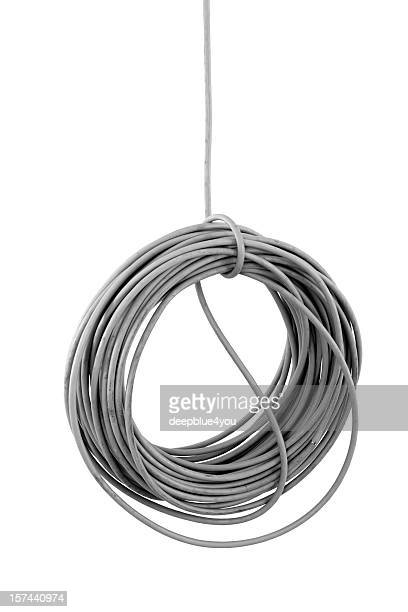 hanging isolated cable coil on building site isolated