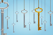 Hanging skeleton keys on light blue background.
