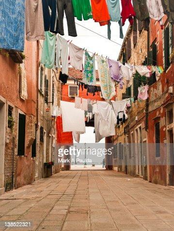 Hanging laundry : Stock Photo