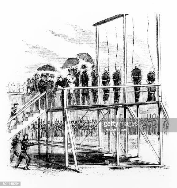 Hanging of the Lincoln assassination conspirators Washington DC USA 7th July 1865 The assassinination of President Abraham Lincoln by John Wilkes...