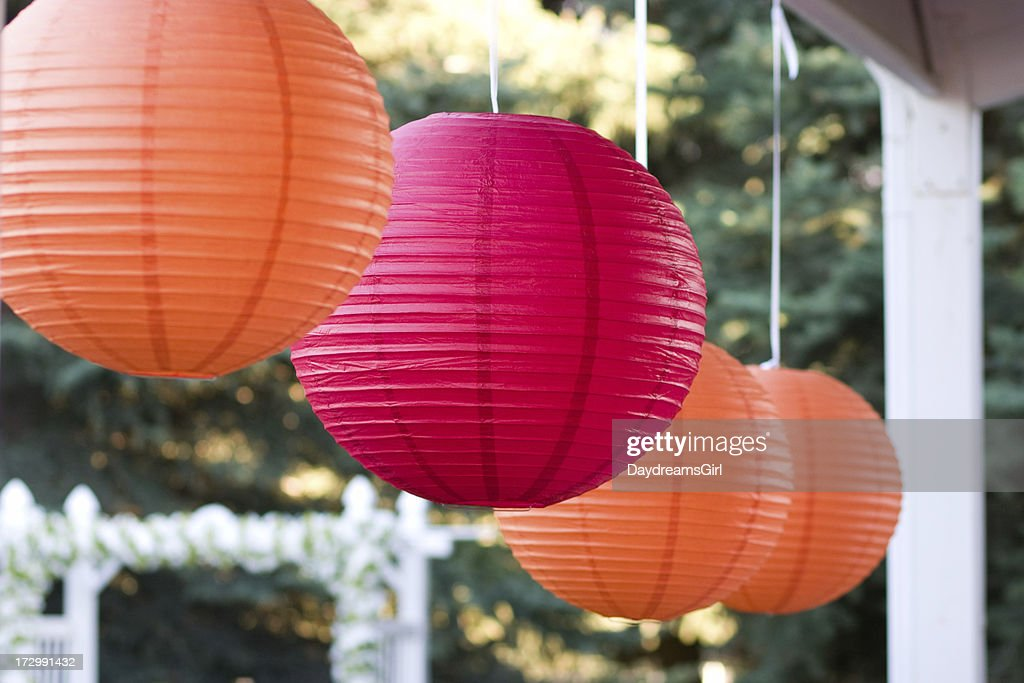 Hanging Orange and Pink Sphere Decorations