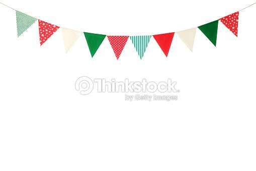 hanging party flags isolated on white background decorate items for festival celebrate event christmas and new year background