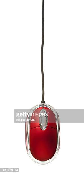Hanging Red Pc Mouse on white Background