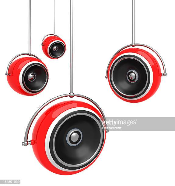Hanging red speakers isolated on white