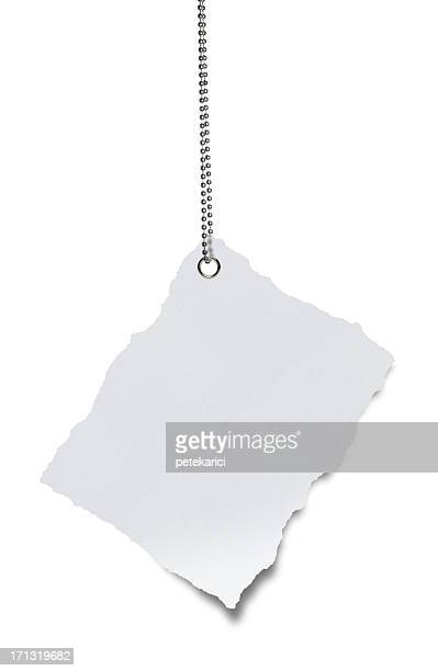 Hanging Torn White Paper (Clipping Path)