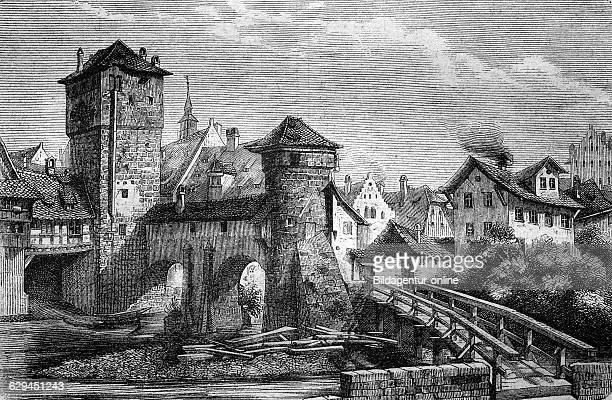 Hangman's bridge and iron tower in nuremberg germany historical wood engraving circa 1888