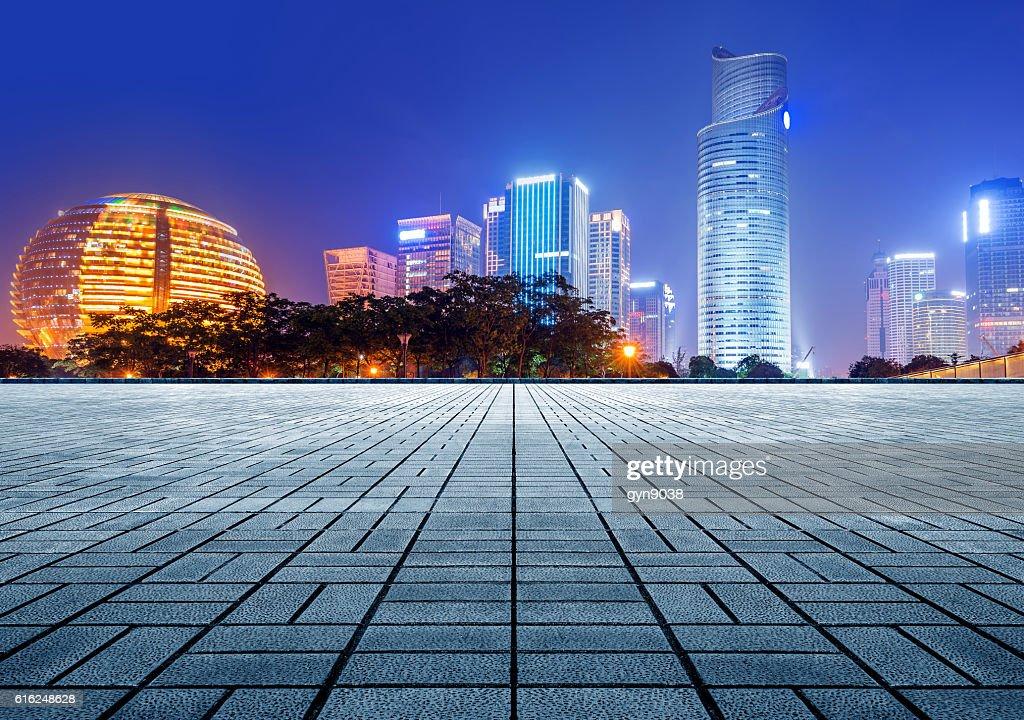 Hangzhou CBD night : Stock Photo
