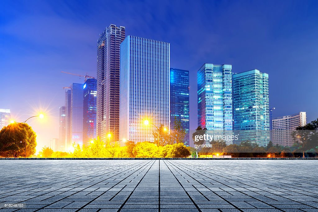 Hangzhou CBD night : Stock Photo
