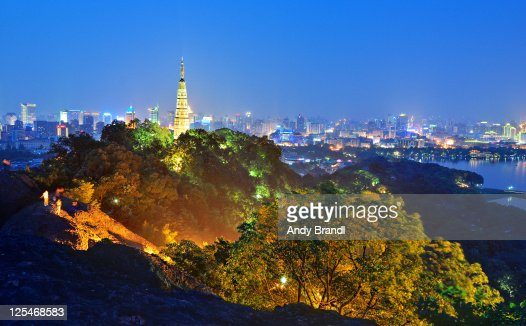Hangzhou city (Baochu Tower and cityscape at night
