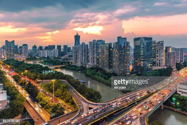 Hangzhou cityscape with the Grand Canal at dusk,China