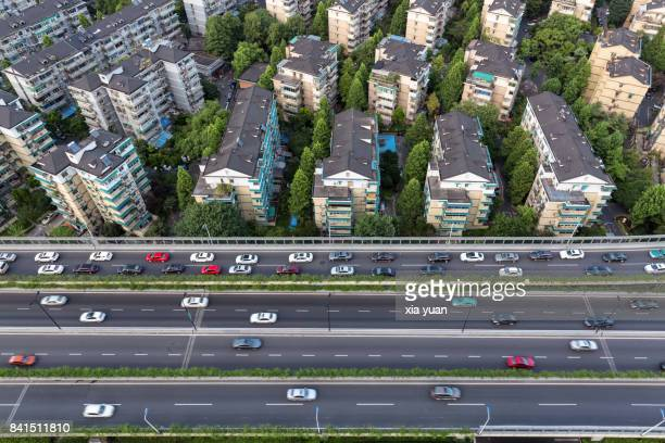 Hangzhou residential area with freeway,China