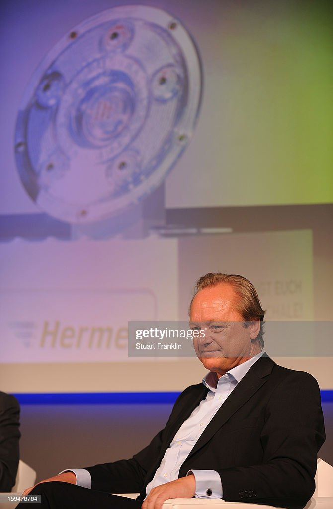 Hanjo Schneider, CEO of Hermes europe at the announcement of Hermes as the new DFL premium sponsor on January 14, 2013 in Hamburg, Germany.