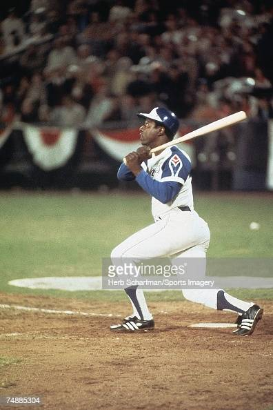 Hank Aaron of the Atlanta Braves hits home run to break Babe Ruth's record off Al Downing of the Los Angeles Dodgers in Fulton County Stadium on...