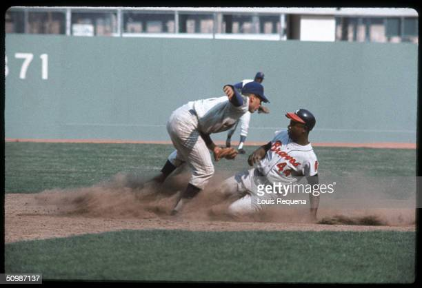 Hank Aaron of the Atlanta Braves slides into second base during a game against the New York Mets circa 1969 at Shea Stadium in Flushing New York Hank...