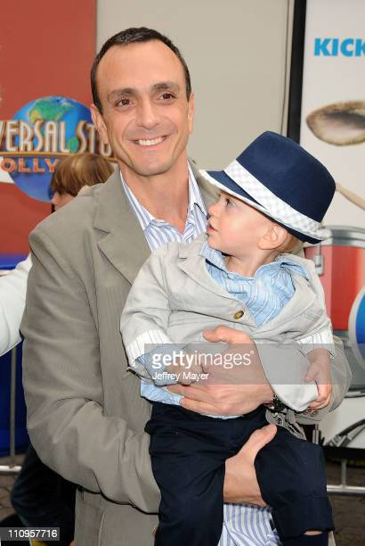Hank Azaria and son arrive at the Los Angeles premiere of 'Hop' at Universal Studios Hollywood on March 27 2011 in Universal City California