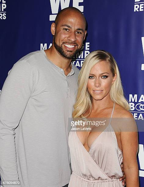 Hank Baskett and Kendra Wilkinson attend WE tv's 'Marriage Bootcamp Reality Stars'' premiere party at HYDE Sunset Kitchen Cocktails on May 28 2015 in...