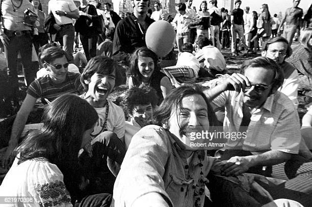 Hank Berman Alan Binstock Jerry Bayer and Ken Wolman trippin' out on acid in Central Park in April 1967 in New York New York