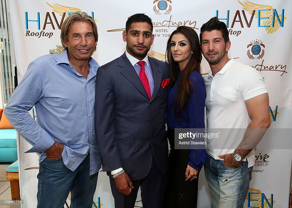Hank Freid, <a gi-track='captionPersonalityLinkClicked' href=/galleries/search?phrase=Amir+Khan+-+Boxer&family=editorial&specificpeople=162795 ng-click='$event.stopPropagation()'>Amir Khan</a>, Faryal Makhdoom and Brandon Freid attend a Welcome To New York Party at Haven Rooftop at Sanctuary Hotel on July 8, 2013 in New York City.