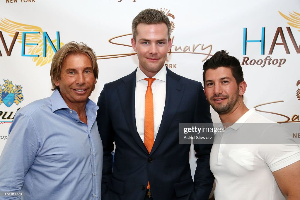 Hank Freid, TV Personality Ryan Serhant and Brandon Freid attend Amir Khan & Faryal Makhdoom's Welcome To New York Party at Haven Rooftop at Sanctuary Hotel on July 8, 2013 in New York City.