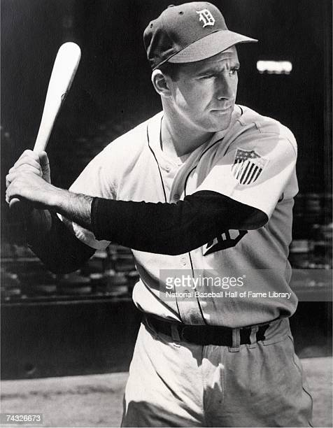 Hank Greenberg of the Detroit Tigers swings a bat before a season game in 1944