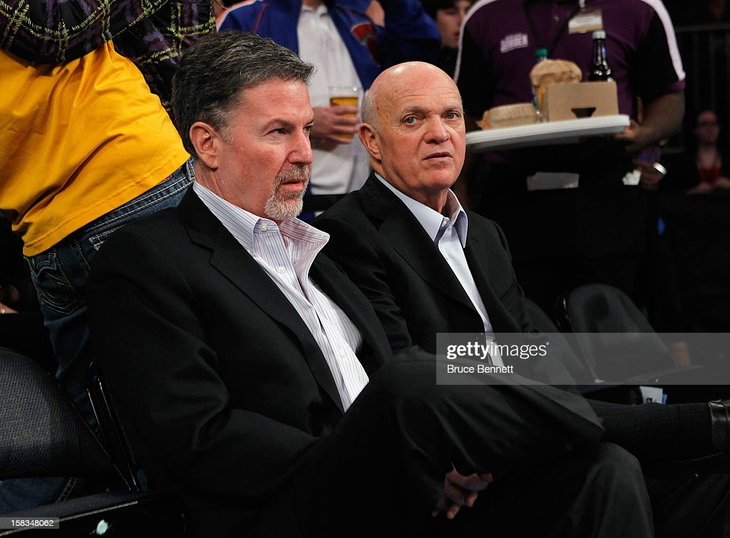 Hank J. Ratner, President and CEO of Madison Square Garden and Lou Lamoriello, President of the New Jersey Devils take in the game between the New York Knicks and the Los Angeles Lakers at Madison Square Garden on December 13, 2012 in New York City.