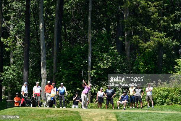 Hank Lebioda hits a tee from the third hole during the final round of the Mackenzie Investments Open at Club de Golf Les Quatre Domaines on July 23...