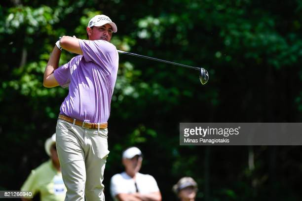 Hank Lebioda hits a tee shot on the fifth hole during the final round of the Mackenzie Investments Open at Club de Golf Les Quatre Domaines on July...