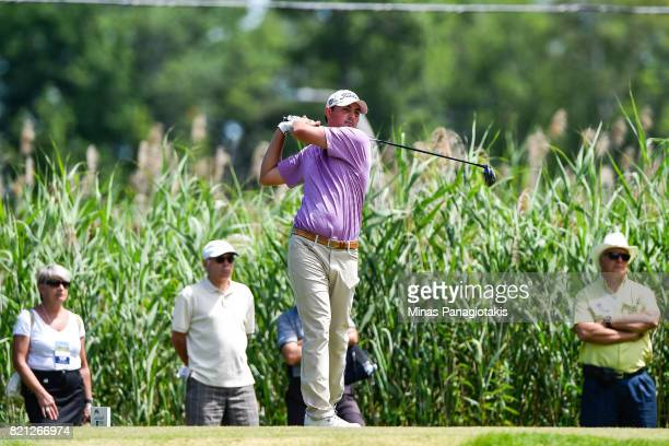 Hank Lebioda hits a tee shot on the fourth hole during the final round of the Mackenzie Investments Open at Club de Golf Les Quatre Domaines on July...