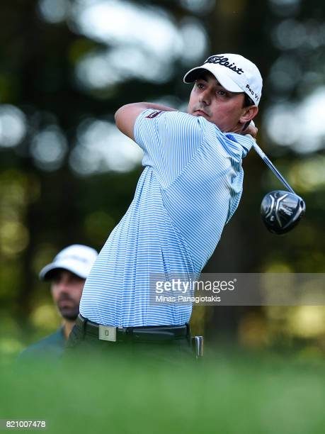 Hank Lebioda hits his tee on the first hole during round three of the Mackenzie Investments Open at Club de Golf Les Quatre Domaines on July 22 2017...