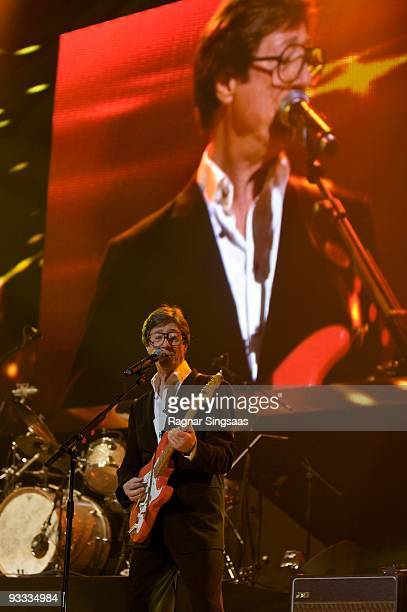 Hank Marvin of The Shadows performs at Oslo Spektrum on November 23 2009 in Oslo Norway