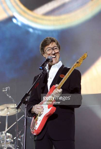 Hank Marvin of The Shadows performs live on stage at the O2 Arena on September 28 2009 in London England