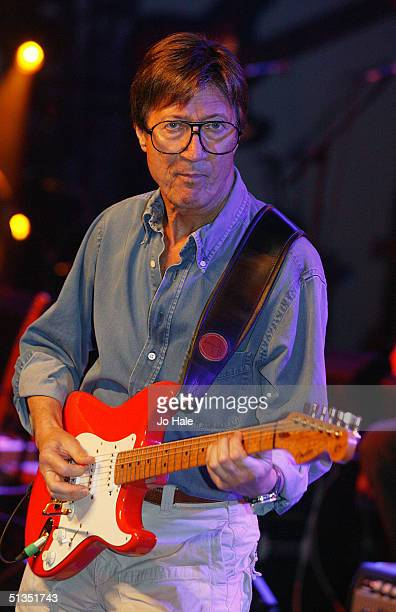 Hank Marvin rehearses ahead of tomorrow's Wembley Arena performace of 'The Miller Strat Pack' concert on September 23 2004 at Black Island Studios in...