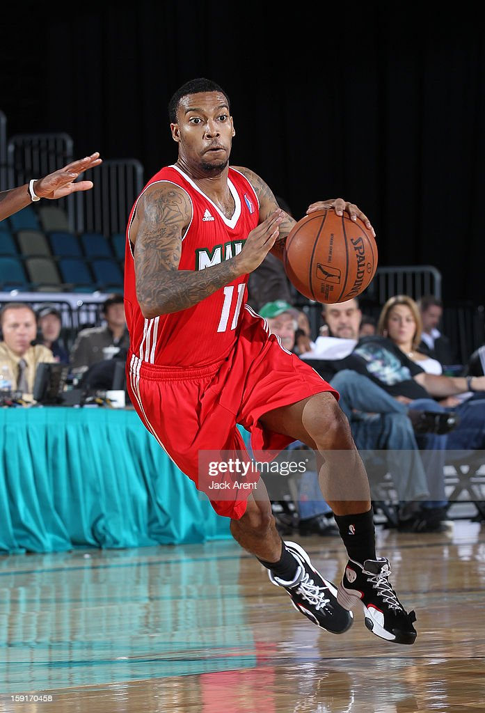 <a gi-track='captionPersonalityLinkClicked' href=/galleries/search?phrase=Hank+Thorns&family=editorial&specificpeople=4893962 ng-click='$event.stopPropagation()'>Hank Thorns</a> #11 of the Main Red Claws dribbles the ball against the Tulsa 66ers during the 2013 NBA D-League Showcase on January 8, 2013 at the Reno Events Center in Reno, Nevada.