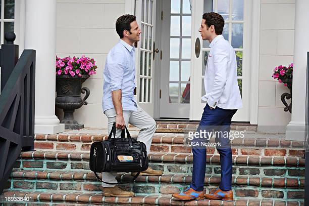 PAINS 'Hank Watch/Lawson Translation' Episode 501 Pictured Mark Feuerstein as Dr Hank Lawson Paulo Costanzo as Evan Lawson