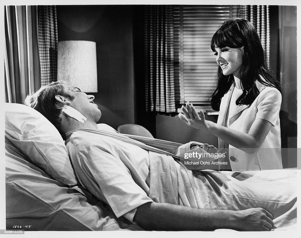 Hank Williams Jr is visited by Shelley Fabares after the car accident in a scene from the movie 'A Time to Sing' circa 1968