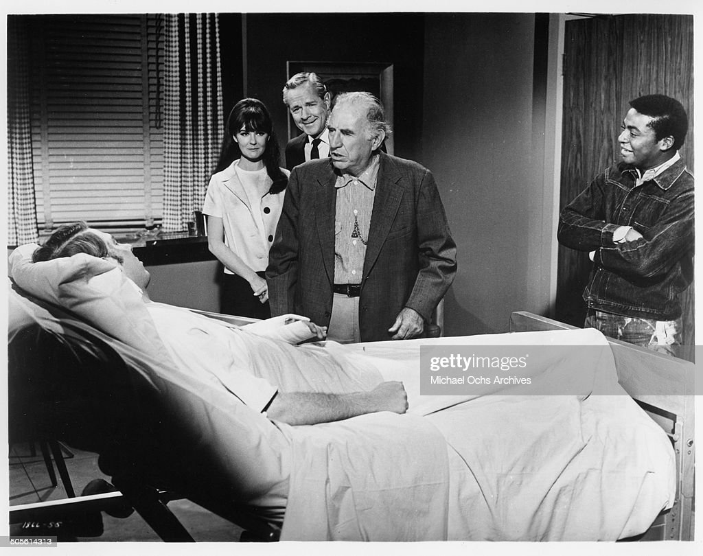 Hank Williams Jr Shelley Fabares Donald Woods Ed Begley and D'Urville Martin in the hospital in a scene from the movie 'A Time to Sing' circa 1968