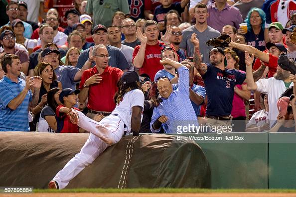 Hanley Ramirez of the Boston Red Sox attempts to catch a foul ball during the fifth inning of a game against the Tampa Bay Rays on August 29 2016 at...