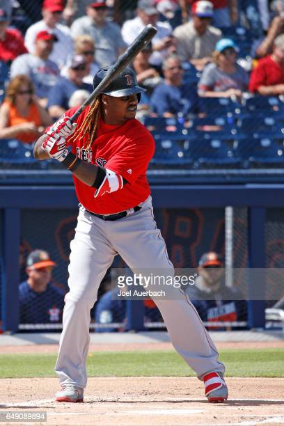 Hanley Ramirez of the Boston Red Sox bats against the Houston Astros in the first inning during a spring training game at The Ballpark of the Palm...