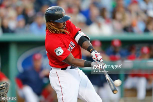 Hanley Ramirez of the Boston Red Sox bats against the Pittsburgh Pirates during a spring training game at JetBlue Park on March 16 2017 in Fort Myers...