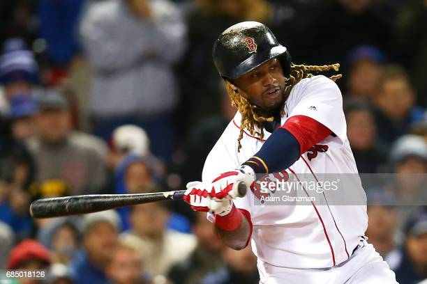 Hanley Ramirez of the Boston Red Sox bats during a game against the Chicago Cubs at Fenway Park on April 30 2017 in Boston Massachusetts